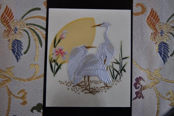 蒔絵シール 月と白鷺